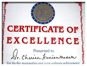 Certificate of Excellenece